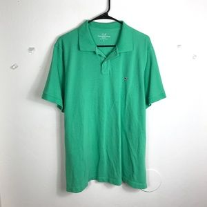Mens L Vineyard Vines Green Whale Logo Polo Shirt